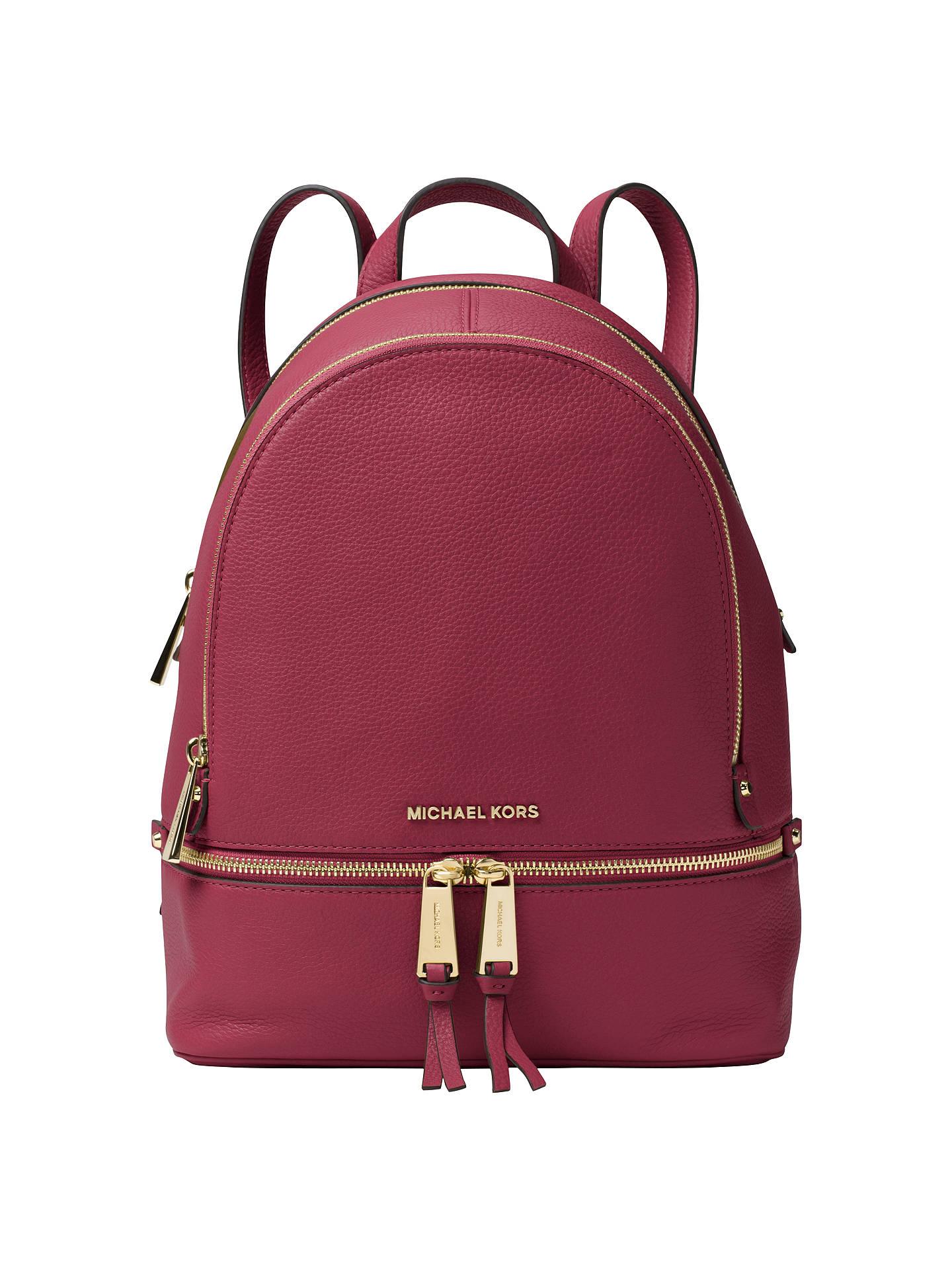 37744b5c3021af Buy MICHAEL Michael Kors Rhea Leather Backpack, Mulberry Online at  johnlewis.com ...