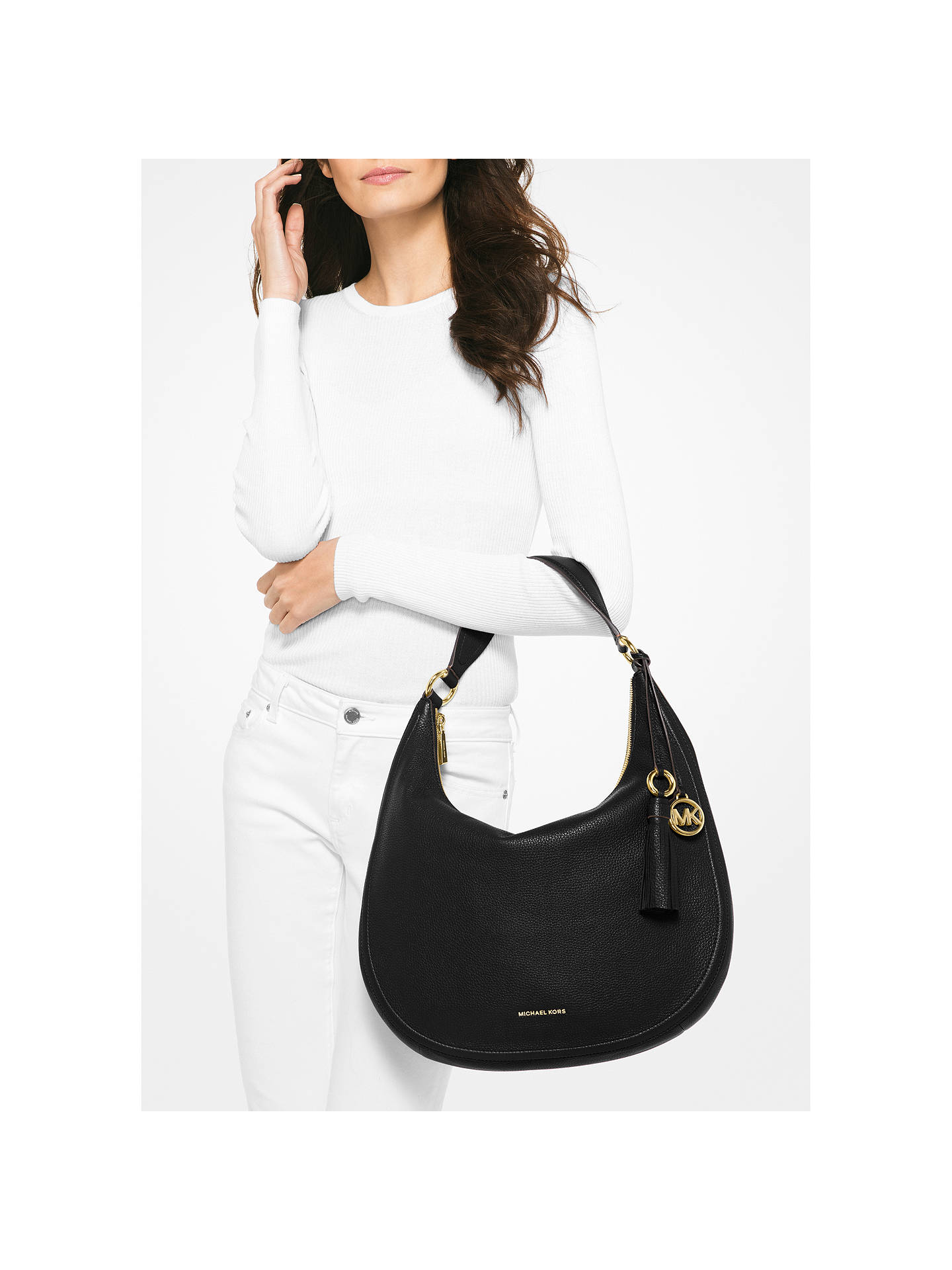 5652b1b2cc2e ... Buy MICHAEL Michael Kors Lydia Large Hobo Bag, Black Online at  johnlewis.com