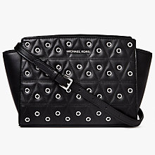 Buy MICHAEL Michael Kors Selma Stud Leather Messenger Bag, Black Online at johnlewis.com