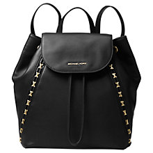 Buy MICHAEL Michael Kors Sadie Medium Leather Backpack, Black Online at johnlewis.com