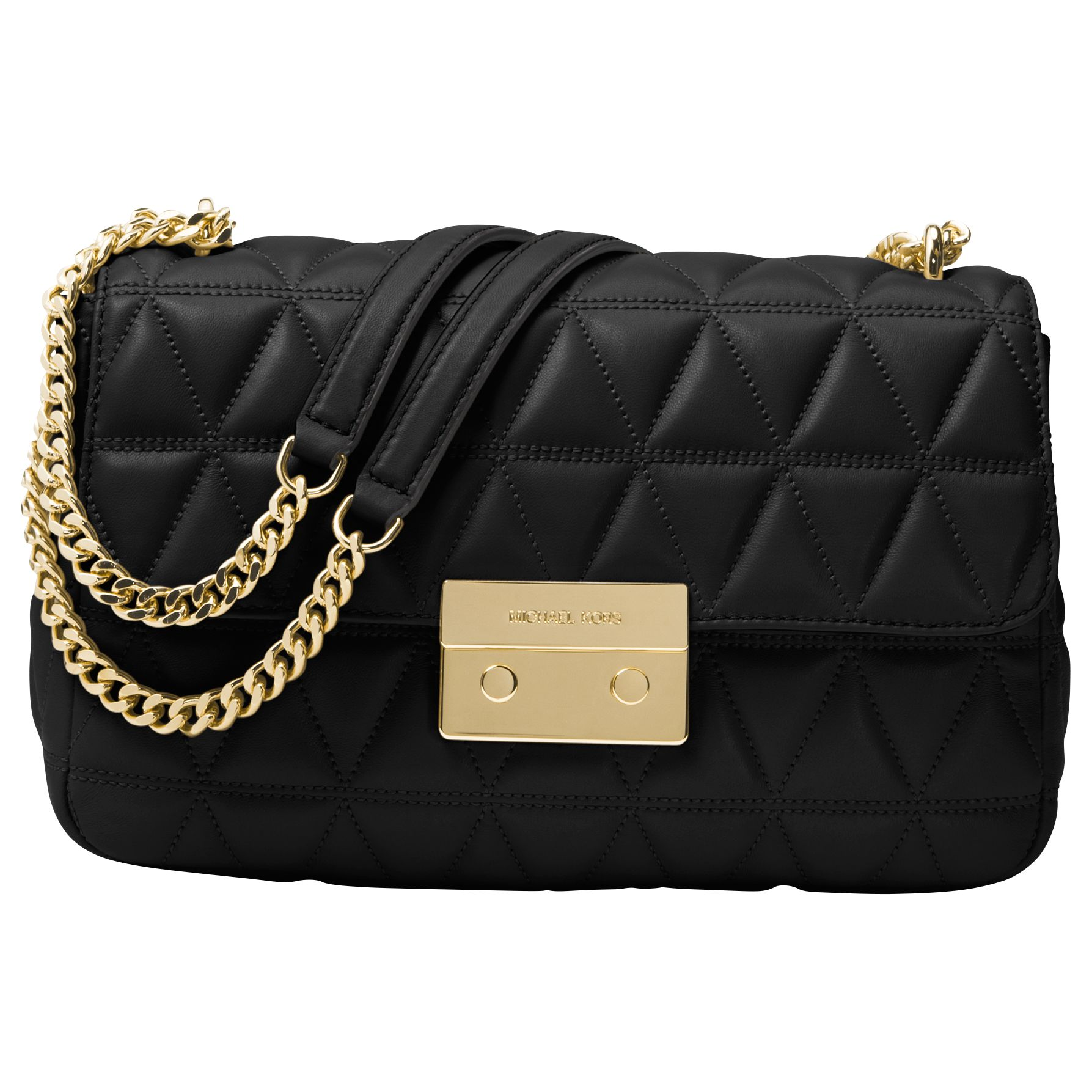 31465ef0a3ef10 MICHAEL Michael Kors Sloan Leather Long Chain Shoulder Bag, Black at John  Lewis & Partners