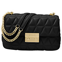 Buy MICHAEL Michael Kors Sloan Leather Long Chain Shoulder Bag, Black Online at johnlewis.com