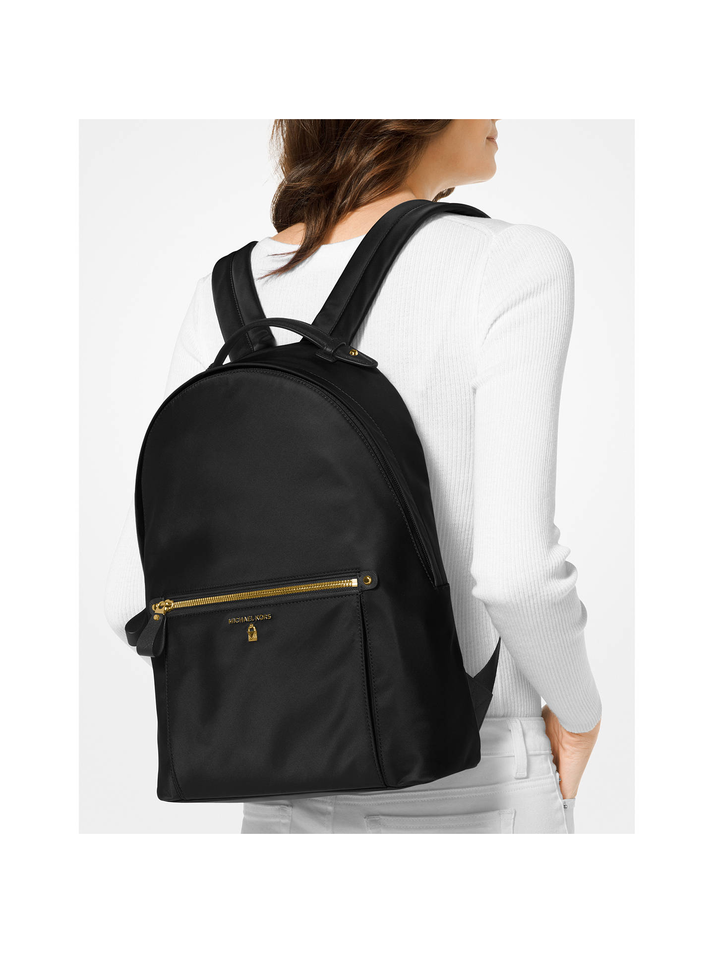 8fec1a8e36ea73 ... Buy MICHAEL Michael Kors Kelsey Backpack, Black Online at johnlewis.com  ...