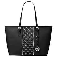 Buy MICHAEL Michael Kors Jet Set Travel Large Leather Stud Tote Bag, Black Online at johnlewis.com