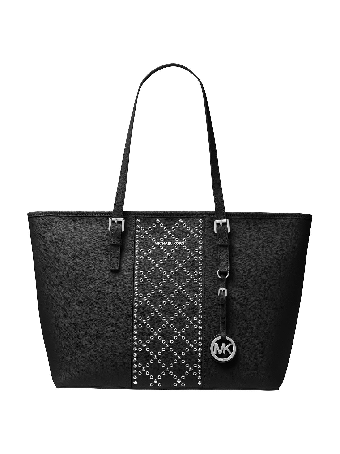 a8ac05eb898b19 Buy MICHAEL Michael Kors Jet Set Travel Large Leather Stud Tote Bag, Black  Online at ...