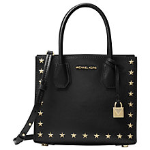 Buy MICHAEL Michael Kors Mercer Leather Star Studded Tote Bag, Black Online at johnlewis.com