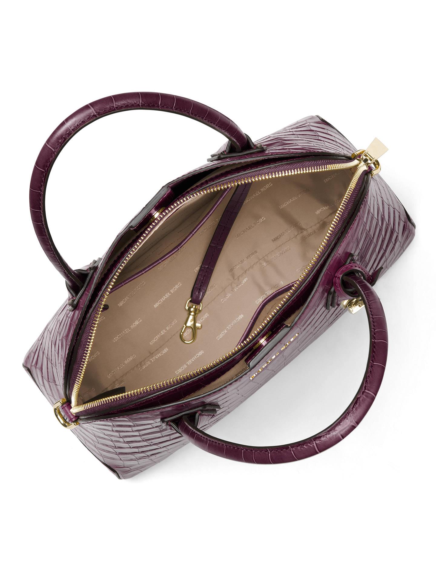 08e053ed1117 Buy MICHAEL Michael Kors Mercer Large Leather Dome Satchel Bag, Damson  Online at johnlewis.