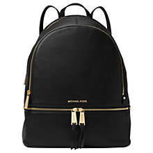 Buy MICHAEL Michael Kors Rhea Leather Large Backpack, Black Online at johnlewis.com