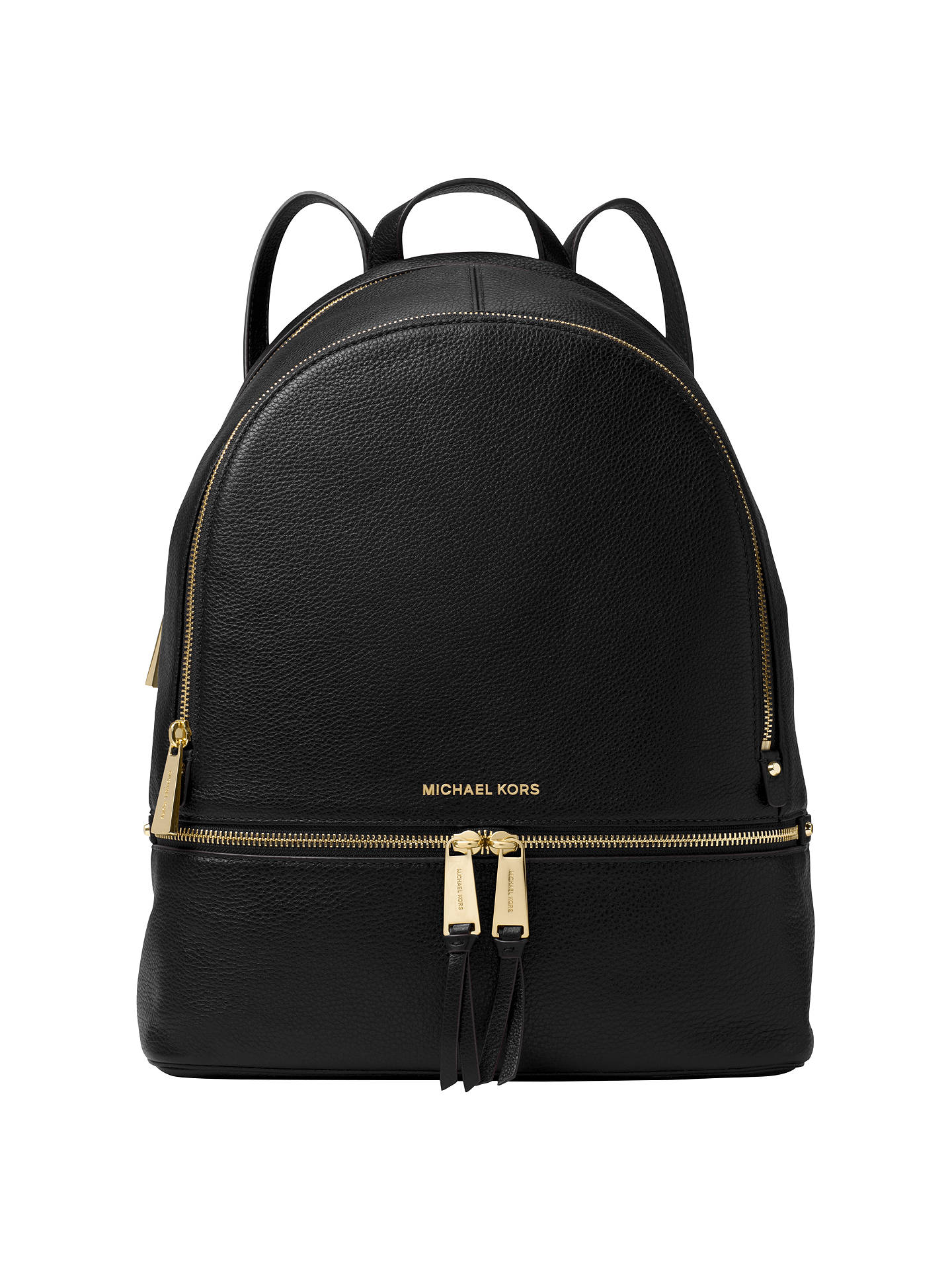 06c190648db597 Buy MICHAEL Michael Kors Rhea Leather Large Backpack, Black Online at  johnlewis.com ...