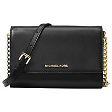 Buy MICHAEL Michael Kors Ruby Leather Clutch Bag, Black Online at johnlewis.com