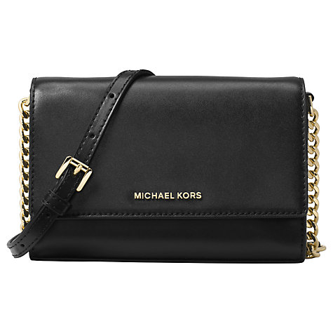 Buy MICHAEL Michael Kors Ruby Leather Clutch Bag, Black Online at  johnlewis.com ...