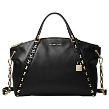 Buy MICHAEL Michael Kors Sadie Large Leather Satchel Bag, Black Online at johnlewis.com