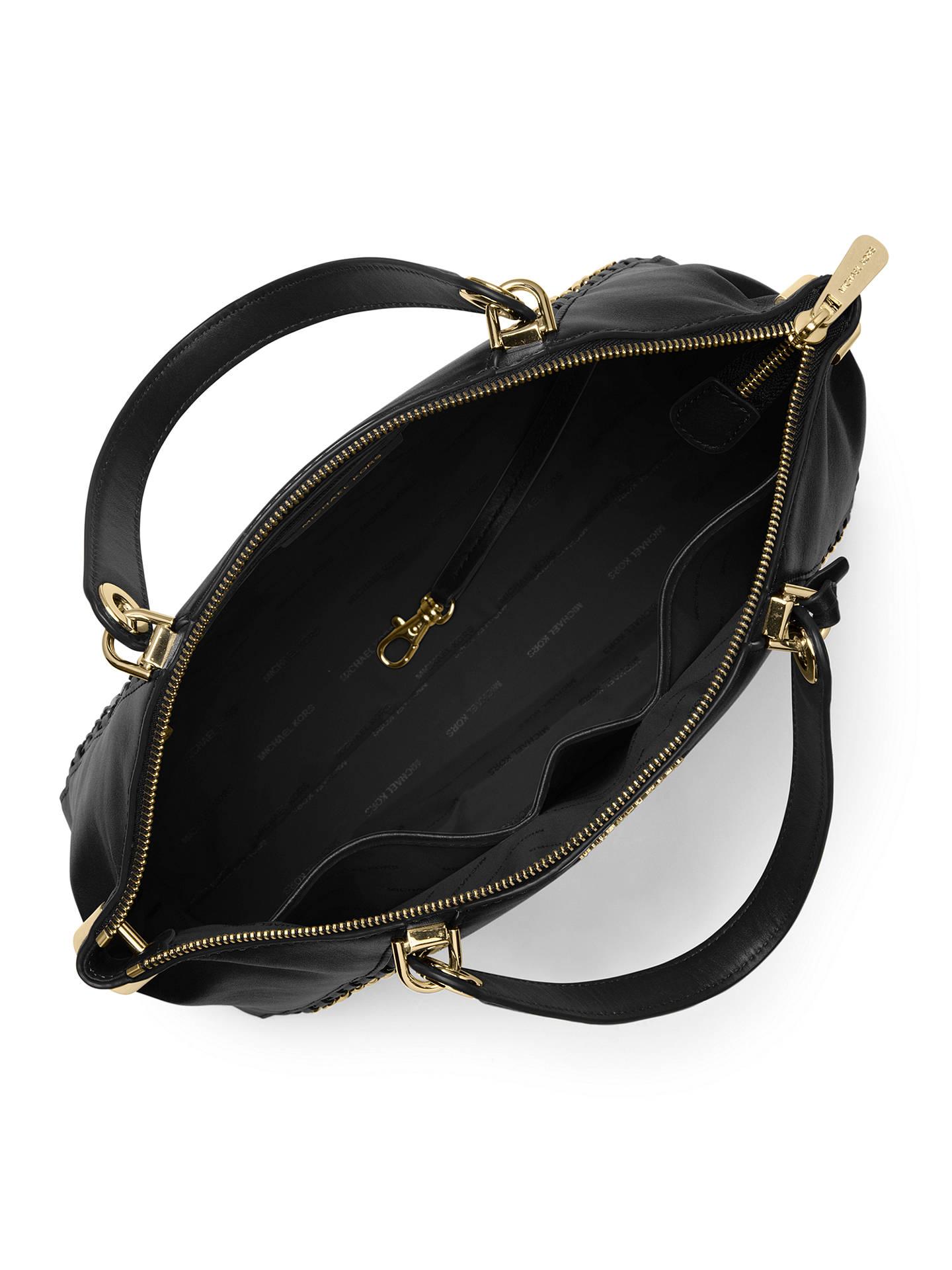 239419a797479c ... Buy MICHAEL Michael Kors Sadie Large Leather Satchel Bag, Black Online  at johnlewis.com ...