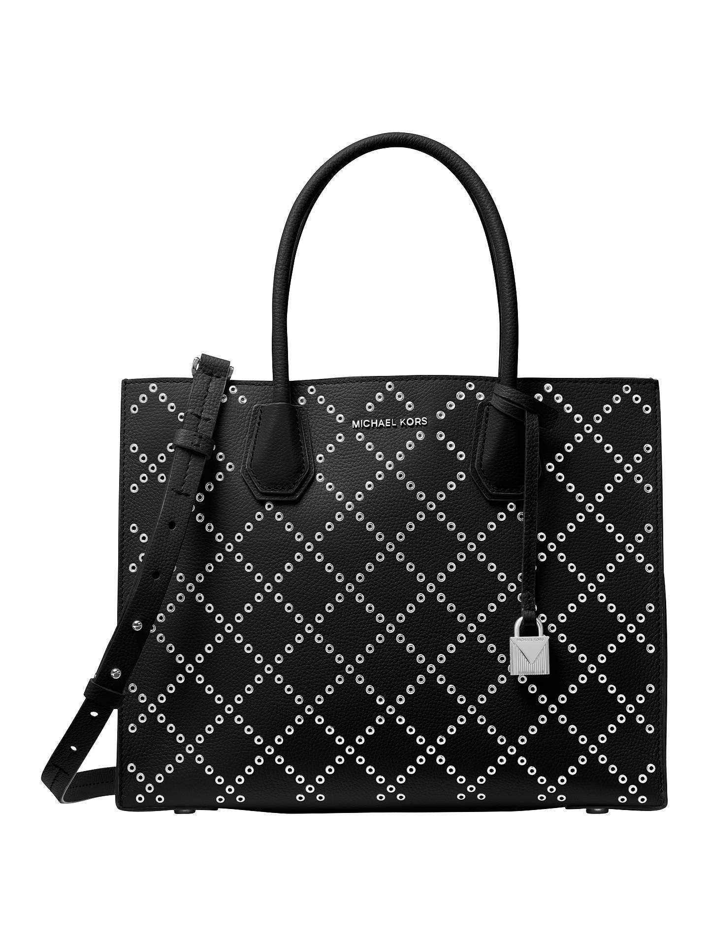 58e39093b48426 Buy MICHAEL Michael Kors Mercer Stud Large Leather Tote Bag, Black/Silver  Online at ...