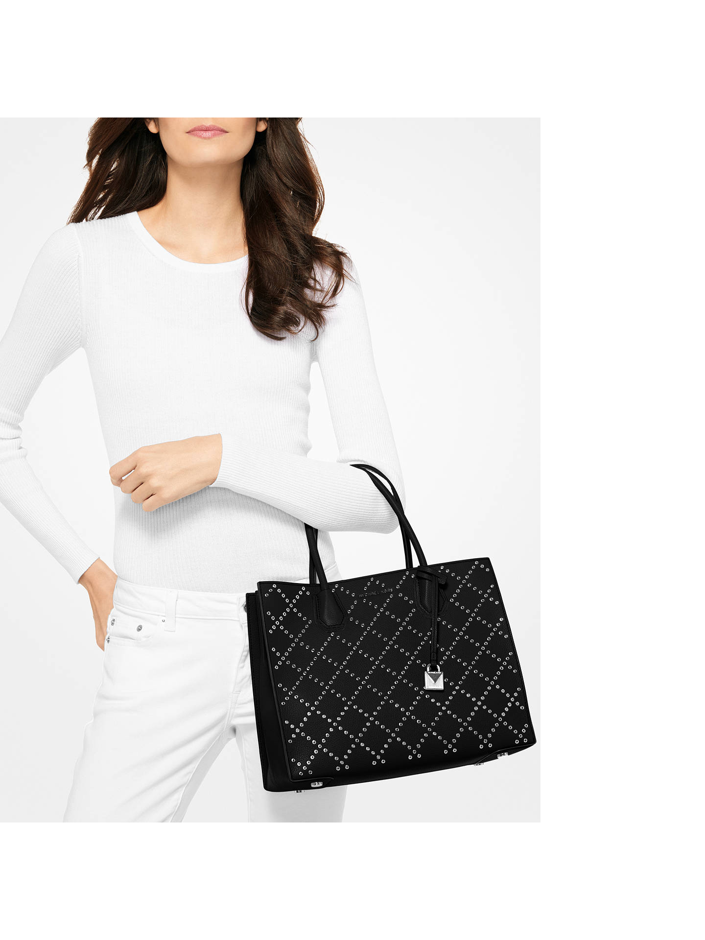 db4c1c190d1268 ... Buy MICHAEL Michael Kors Mercer Stud Large Leather Tote Bag,  Black/Silver Online at