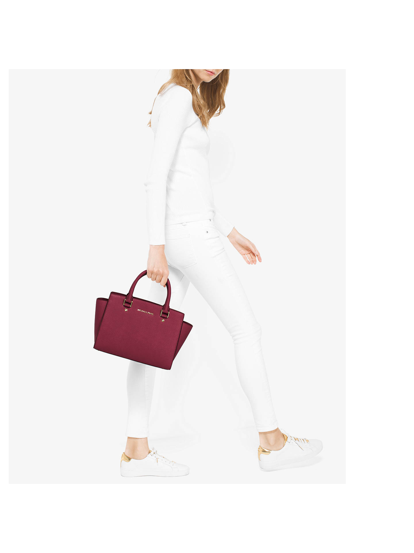6671629a8963 Buy MICHAEL Michael Kors Selma Leather Top Zip Satchel Bag, Mulberry Online  at johnlewis.