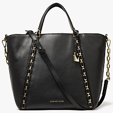 Buy MICHAEL Michael Kors Sadie Leather Medium Grab Bag, Black Online at johnlewis.com