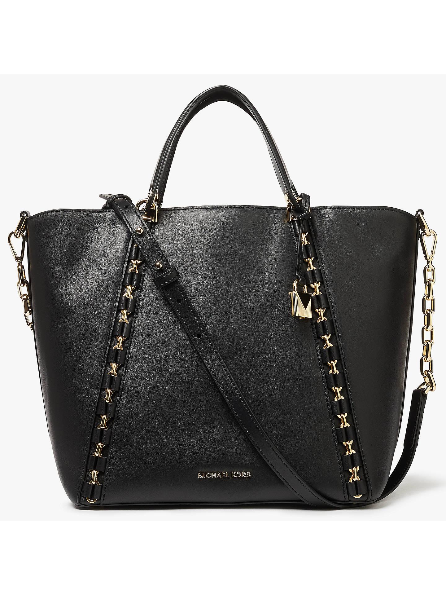 BuyMICHAEL Michael Kors Sadie Leather Medium Grab Bag, Black Online at  johnlewis.com ... a4458f92798c