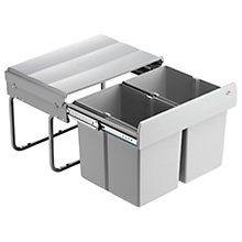 Buy Wesco Shorty Double Pull-Out Kitchen Bin, 30L, Grey Online at johnlewis.com
