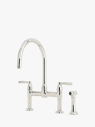 Perrin & Rowe Io 4273 2 Lever Deck Mounted Bridge Kitchen Tap With Spray