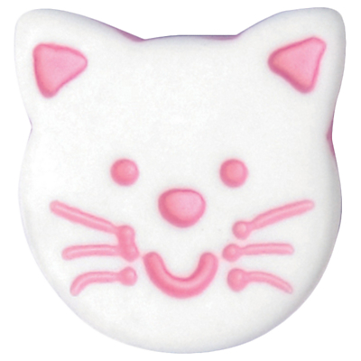 Image of Groves Cat Face Button, 14mm, Pack of 3, Pink