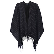 Buy French Connection Pinstripe Poncho, Dark Grey Mel/ Winter White Online at johnlewis.com
