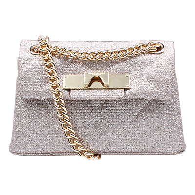 Kurt Geiger Kensington Small Tweed Cross Body Bag, Gold