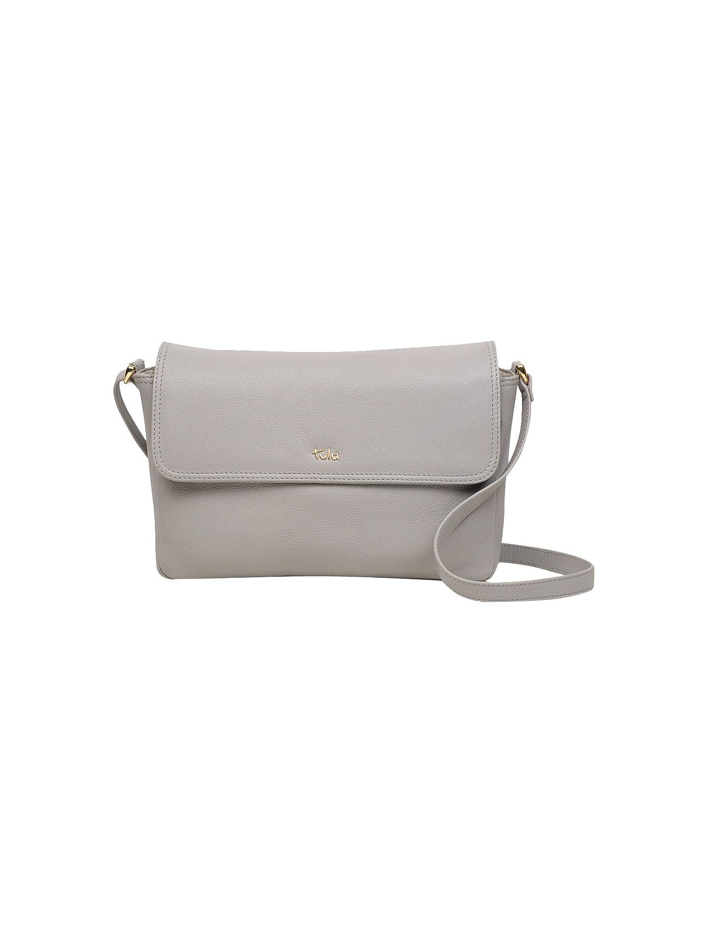 b3698d17822 BuyTula Nappa Originals Leather Medium Flapover Cross Body Bag, Light Grey  Online at johnlewis.