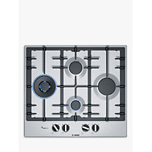 Buy Bosch Serie 6  PCI6A5B90 Gas Hob, Stainless Steel Online at johnlewis.com