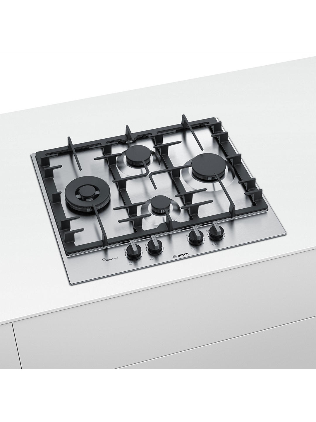 Buy Bosch Serie 6 PCI6A5B90 60cm Gas Hob, Stainless Steel Online at johnlewis.com