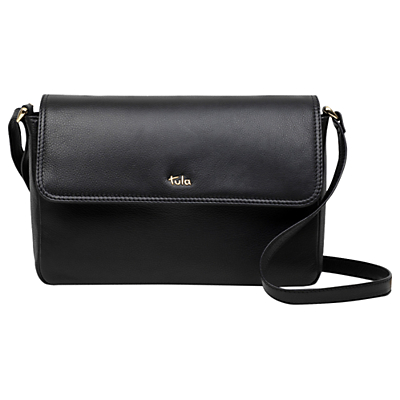 Tula Originals Leather Medium Flapover Cross Body Bag, Black