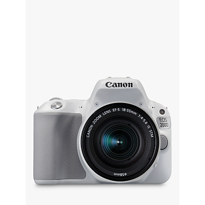Canon EOS 200D Digital SLR Camera with 18-55mm f/4-5.6 IS STM Lens, 1080p Full HD, 24.2MP, Wi-Fi, Bluetooth, NFC, Optical Viewfinder, 3 Vari-angle Touch Screen, White