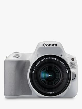 "Canon EOS 200D Digital SLR Camera with 18-55mm f/4-5.6 IS STM Lens, 1080p Full HD, 24.2MP, Wi-Fi, Bluetooth, NFC, Optical Viewfinder, 3"" Vari-angle Touch Screen, White"