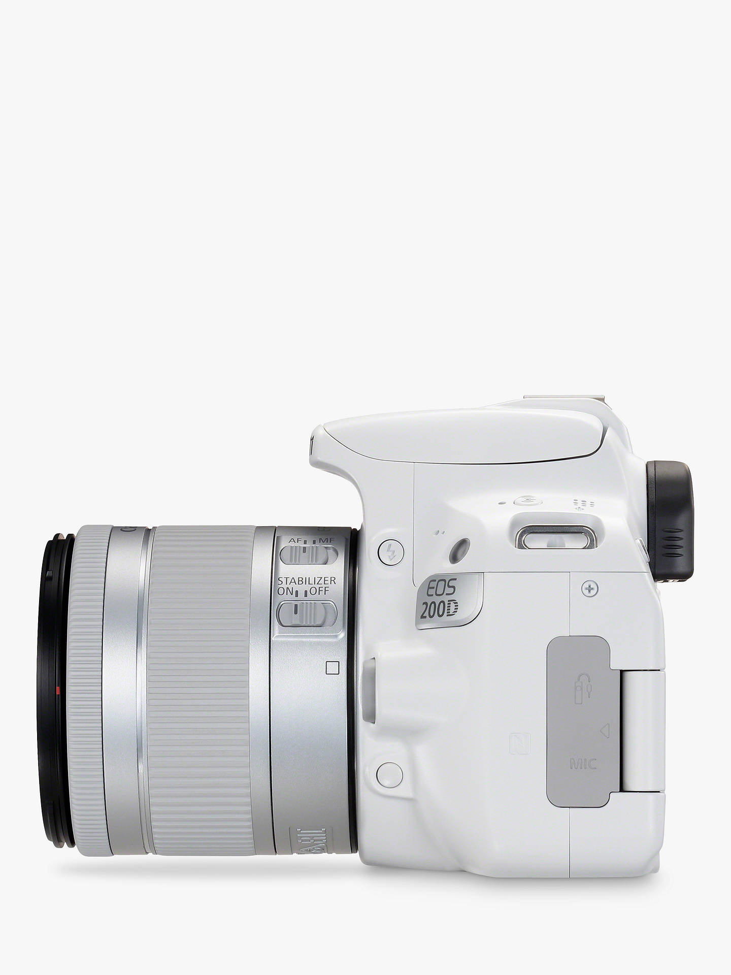 "BuyCanon EOS 200D Digital SLR Camera with 18-55mm f/4-5.6 IS STM Lens, 1080p Full HD, 24.2MP, Wi-Fi, Bluetooth, NFC, Optical Viewfinder, 3"" Vari-angle Touch Screen, White Online at johnlewis.com"