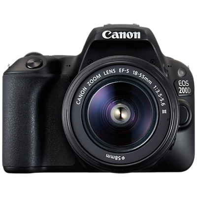 Image of Canon EOS 200D Digital SLR Camera with 18-55mm f/3.5-5.6 III Lens, 1080p Full HD, 24.2MP, Wi-Fi, Bluetooth, NFC, Optical Viewfinder, 3 Vari-angle Touch Screen, Black