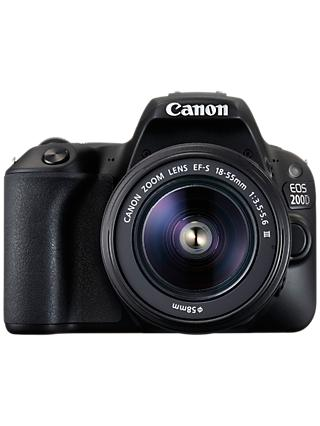 "Canon EOS 200D Digital SLR Camera with 18-55mm f/3.5-5.6 III Lens, 1080p Full HD, 24.2MP, Wi-Fi, Bluetooth, NFC, Optical Viewfinder, 3"" Vari-angle Touch Screen, Black"
