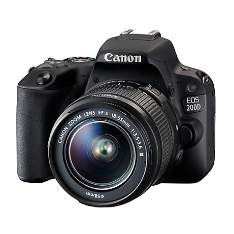 "Buy Canon EOS 200D Digital SLR Camera with 18-55mm f/3.5-5.6 III Lens, 1080p Full HD, 24.2MP, Wi-Fi, Bluetooth, NFC, Optical Viewfinder, 3"" Vari-angle Touch Screen, Black Online at johnlewis.com"