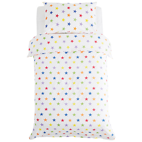 Buy Great Little Trading Co Rainbow Star Print Cotton Duvet Cover and Pillowcase Set, Single Online at johnlewis.com