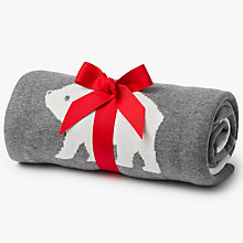 Buy John Lewis Polar Bear Baby Blanket, Grey Online at johnlewis.com