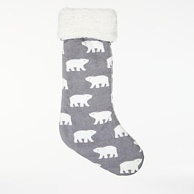 John Lewis Baby Polar Bear Stocking, Grey