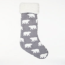 Buy John Lewis Baby Polar Bear Stocking, Grey Online at johnlewis.com