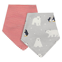 Buy John Lewis Baby Polar Bear Dribble Bib, Pack of 2, Grey/Red Online at johnlewis.com