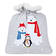 Buy John Lewis Polar Bear Toy Sack, H70 x W56cm, Grey Online at johnlewis.com