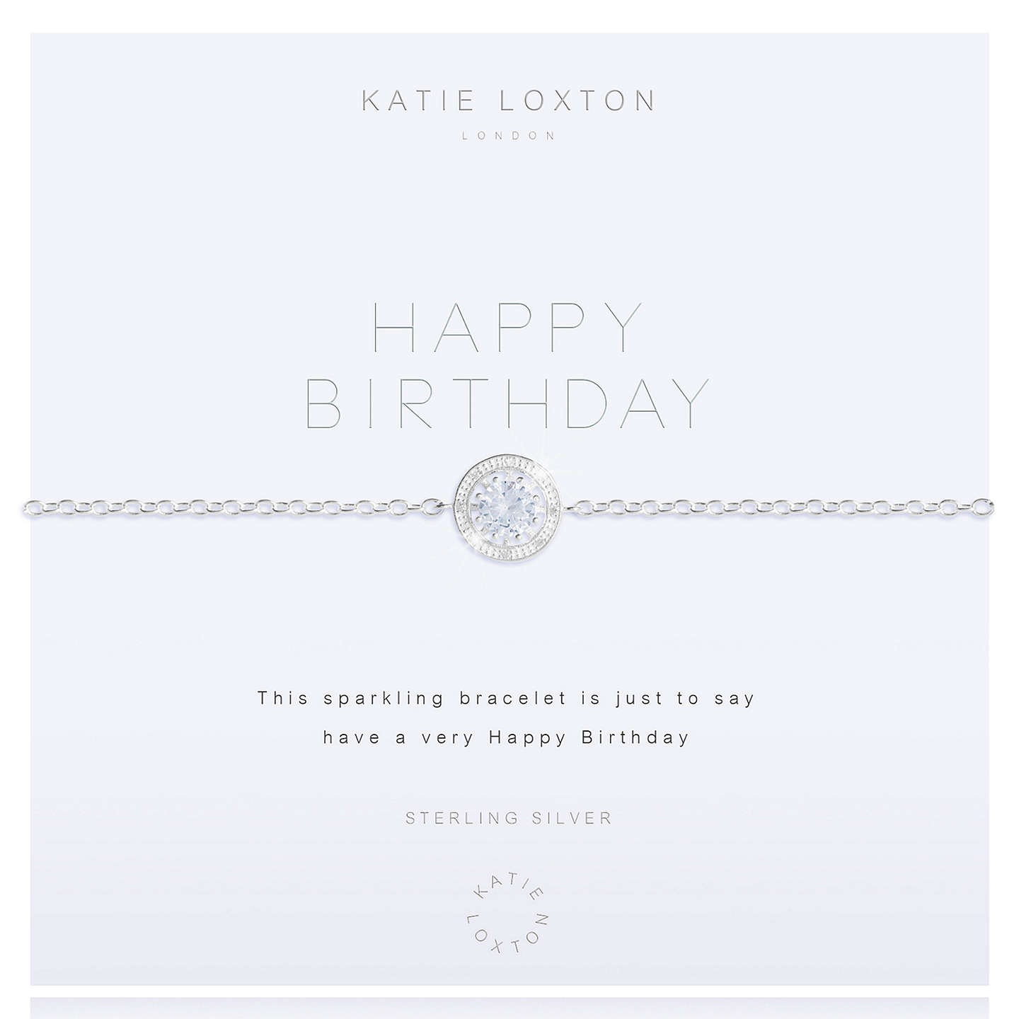 BuyKatie Loxton Cubic Zirconia Happy Birthday Bracelet, Silver Online at johnlewis.com