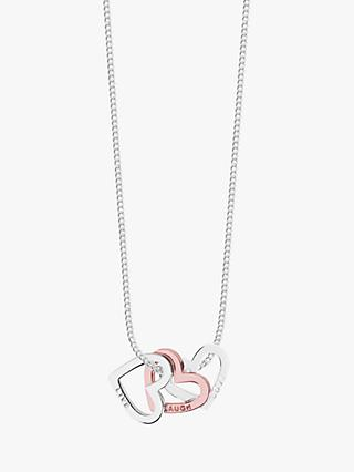 Joma Jewellery Trio Heart Pendant Necklace, Silver/Rose Gold
