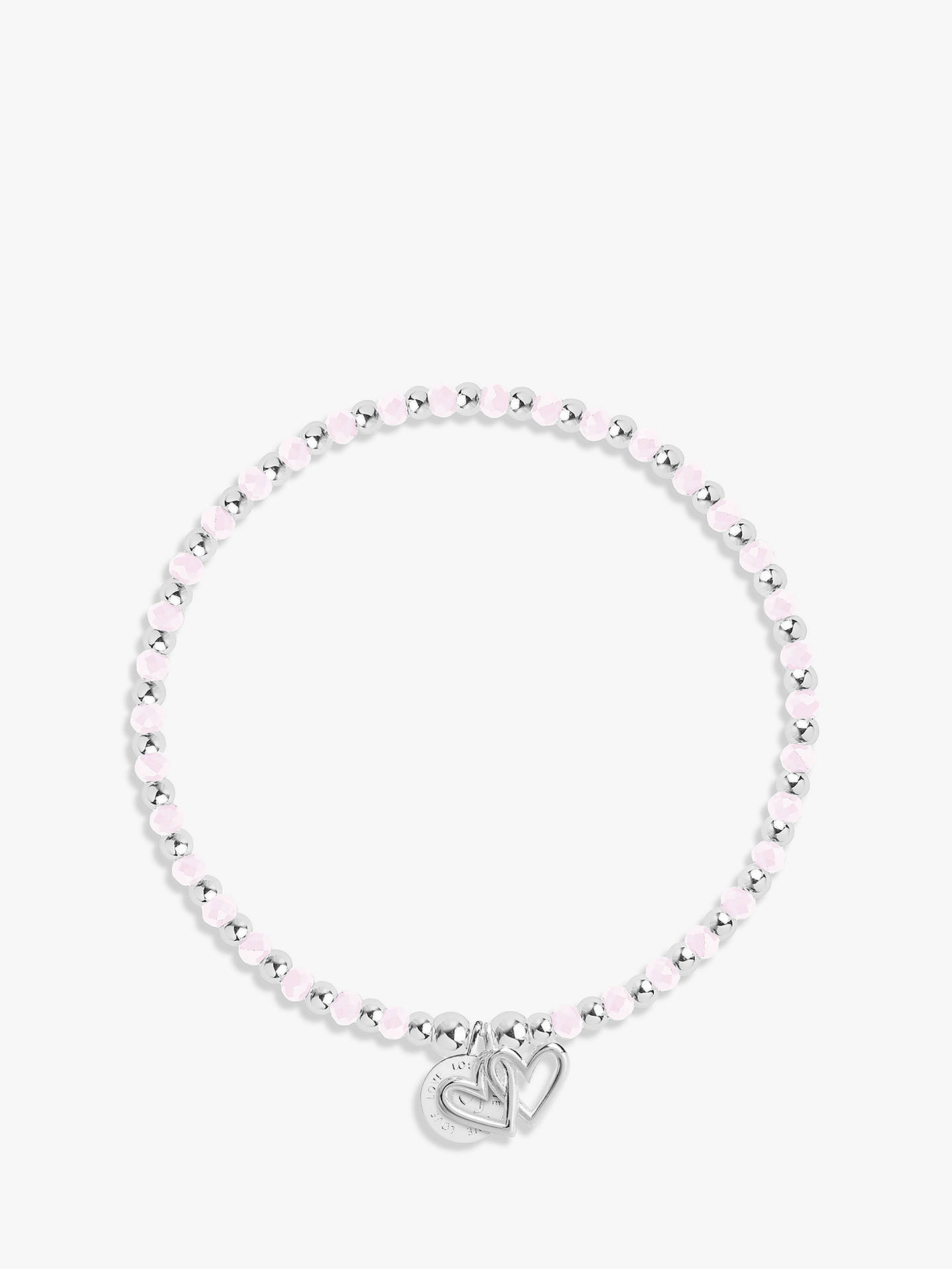 BuyJoma Love Life Crystal Beaded Bracelet, Silver/Pink Online at johnlewis.com