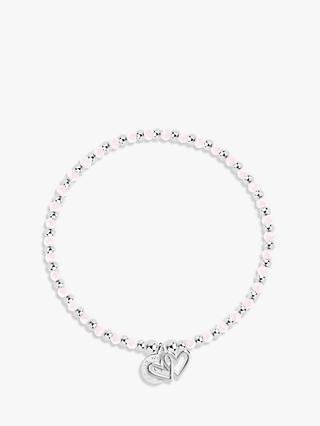 Joma Jewellery Love Life Crystal Beaded Bracelet, Silver/Pink