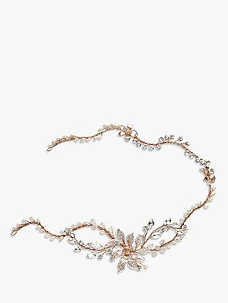 Ivory & Co. Enchanted Freshwater Pearl and Crystal Floral Hair Vine, Rose Gold