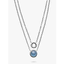 Buy Skagen Sea Glass Double Chain Pendant Necklace, Silver/Blue Online at johnlewis.com