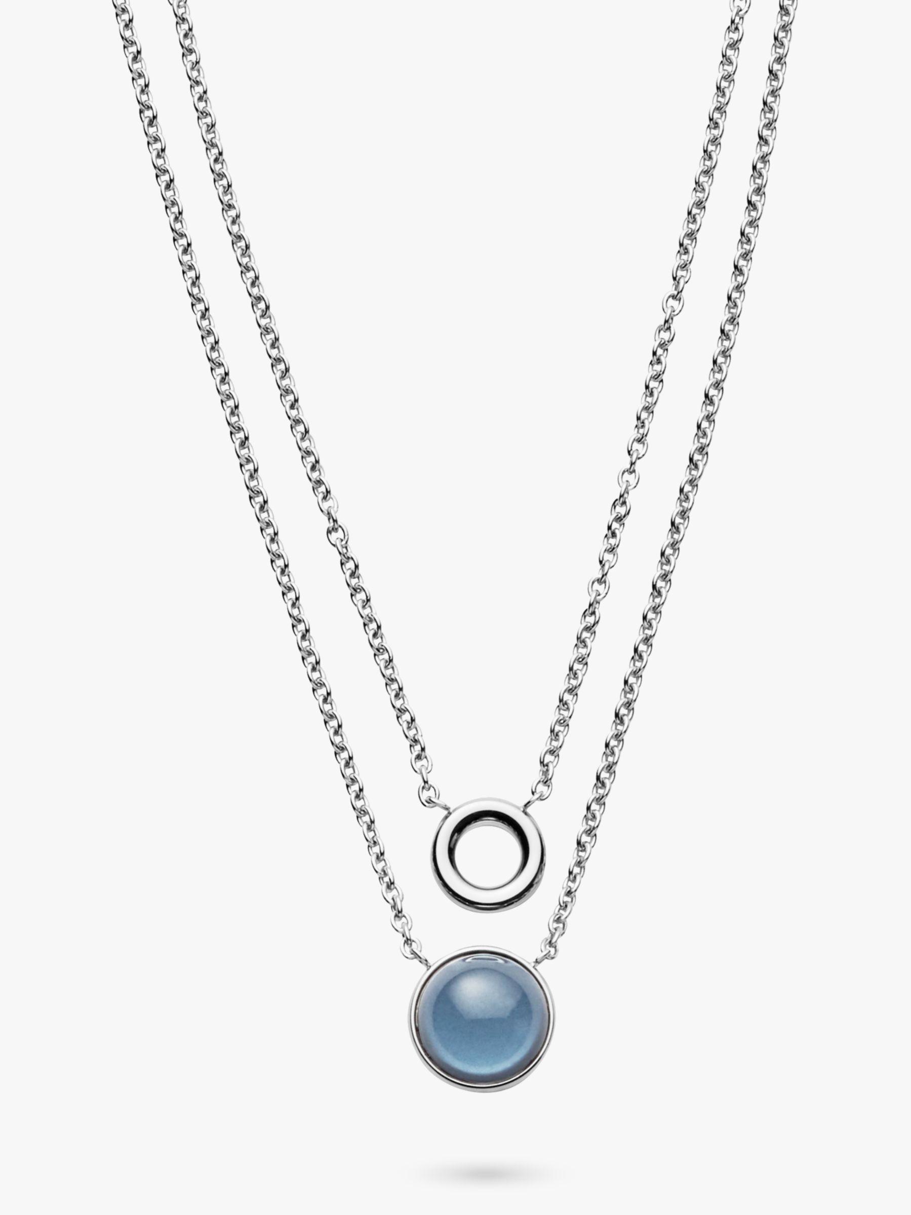skagen Skagen Sea Glass Double Chain Pendant Necklace, Silver/Blue SKJ1046040